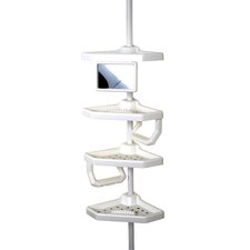 Four Shelves Pole Caddy in White
