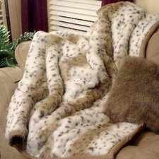 Lynx Jacquard Faux Acrylic Fur Throw Blanket with Faux Suede Trim and Sand Color Short Pile Faux Fur Lining