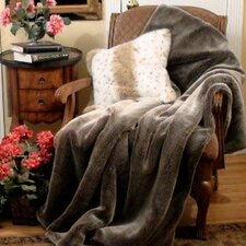 Chinchilla Faux Fur Acrylic Throw Blanket and Pillow Set