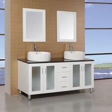 """Malibu 60"""" Double Sink Modern Bathroom Vanity Set"""