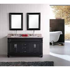 "<strong>Design Element</strong> Hudson 61"" Double Sink Bathroom Vanity Set"