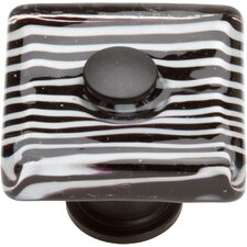 "Glass Zebra 1.5"" Square Knob"