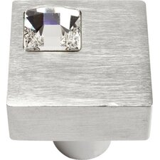 "Boutique Crystal Off Center 1"" Square Knob"