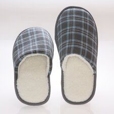 <strong>Deluxe Comfort</strong> Checkered Cotton Wool Fleece Lining Mens House Slippers