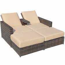 Outsunny 3 Piece Outdoor PE Rattan Wicker Patio Love Seat Lounge Chair Set with Cushions