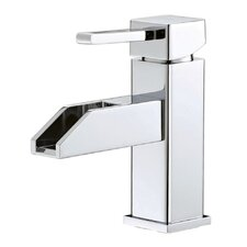 Water Creation F3-0005 Single Hole Mount Water Fall Spout Lavatory Faucet With Square Lever And Deck Plate