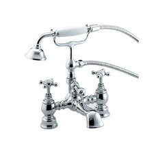 "Water Creation F6-0002-01-CX British Classic 7"" Spread Deck Mount Tub Faucet With Handheld Shower"