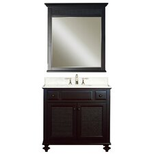 "Water Creation London 36B 36"" Dark Espresso Single Sink Bathroom Vanity And LONDON-M-3036 Matching Mirror"