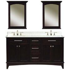 """Water Creation Manhattan 60C 60"""" Dark Espresso Double Sink Bathroom Vanity And Two Manhattan-M-2130 Matching Mirrors"""