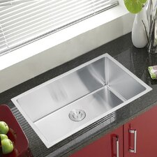 "Water Creation SS-U-3018B 30"" X 18"" Single Bowl Stainless Steel Hand Made Undermount Kitchen Sink With Coved Corners"