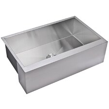 "Water Creation SS-U-3321A 33"" X 21"" Zero Radius Single Bowl Stainless Steel Hand Made Apron Front Kitchen Sink"