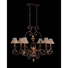 Zaragoza Six Light Chandelier in Golden Bronze