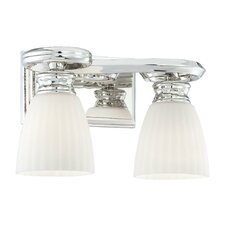 2 Light Bath Vanity Light with Glass Shade