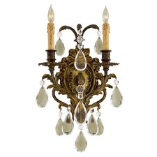 Crystal Metropolitan 2 Light Wall Sconce with Crystal Accents