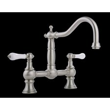 Canterbury Straight Double Handle Bridge Kitchen Faucet with Optional Level Handles