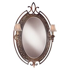 Two Light Decorative Mirror in Belcaro Walnut