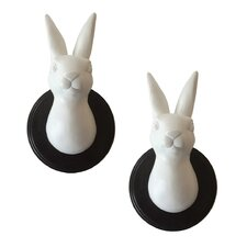Wild Rabbit Head Trophies Wall Décor (Set of 2)