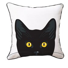 Yellow Eyes Cat Reversible Throw Pillow