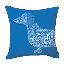 Dachshund Typography Throw Pillow