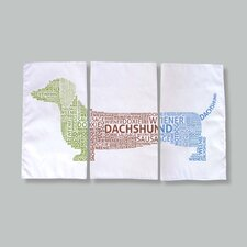 Dachshund Typography Dish Towels (Set of 3)