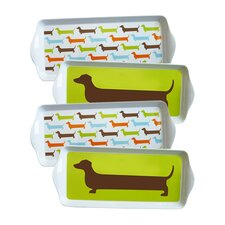 Happy Hot Dog Dessert 4 Piece Serving Tray Set