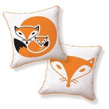 <strong>Naked Decor</strong> Fox and Her Baby Double Sided Cotton Pillow