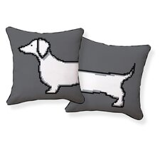 Pixel Dachshund Double Sided Cotton Pillow