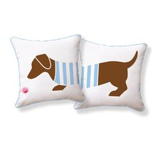 <strong>Naked Decor</strong> Playful Doxie Double Sided Cotton Pillow