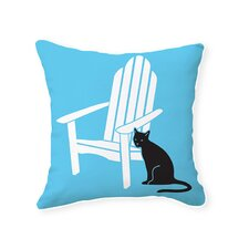 Adirondack Chair with Cat Reversible Throw Pillow