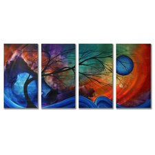 'Cosmic Collision' by Megan Duncanson 4 Piece Original Painting on Metal Plaque Set