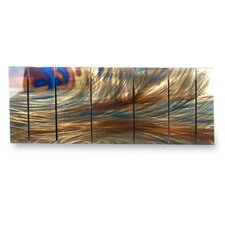 'Abstract' by Ash Carl 7 Piece Original Painting on Metal Plaque Set