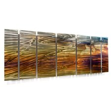 "Abstract by Ash Carl Metal Wall Art in Tan - 23.5"" x 60"""