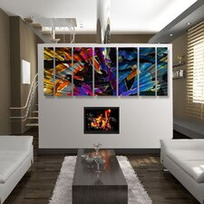 "Abstract by Ash Carl 3 Dimensional Holographic Wall Art in Black Multi - 23.5"" x 60"""