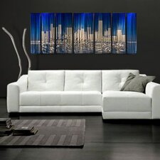 "Abstract by Ash Carl Metal Wall Art in Blue and Silver - 23.5"" x 60"""
