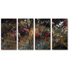 'Blue Grass and Wildflowers' by Ruth Palmer 4 Piece Original Painting on Metal Plaque Set