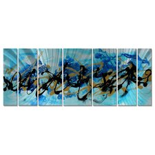 'Under The Sea' by Megan Duncanso 7 Piece Original Painting on Metal Plaque Set