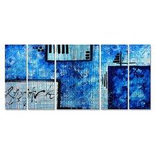 'Ocean' by Megan Duncanso 5 Piece Original Painting on Metal Plaque