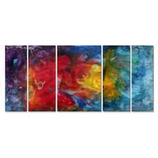 'Heat In Motion' by Megan Duncanso 5 Piece Original Painting on Metal Plaque