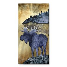 'Moose' by The Lake by Josh Heriot Original Painting on Metal Plaque
