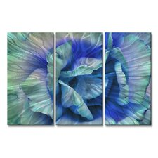 'Blue Rose' by Allyson Kitts 3 Piece Original Painting on Metal Plaque Set