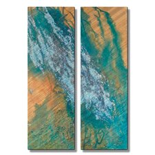 'Oceans Reply' by Kelli Money Huff 2 Piece Original Painting on Metal Plaque Set