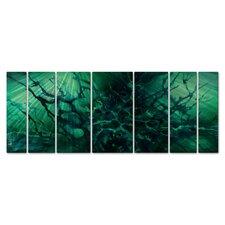 'Ocean Depth' by Michael Lang 7 Piece Original Painting on Metal Plaque Set
