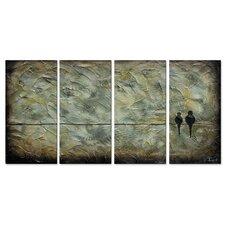 'Birds On A Wire' by Danlye Jones 4 Piece Original Painting on Metal Plaque Set