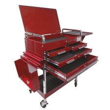 Dlx Service Cart W/Locking Top 4-Drawers Red