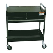 Service Cart W/Locking Top & Drawer Black