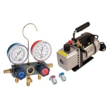 Vacuum Pump and Aluminum Block Manifold Gauge Set with Manual Couplers