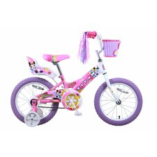 "Girl's 16"" Flower Princess Pink and White BMX Bike with Training Wheels"