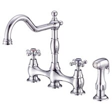 Opulence Two Handle Widespread Bridge Faucet with Spray