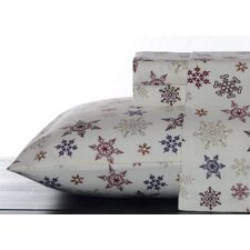 Tossed Snowflakes Flannel Sheet Set