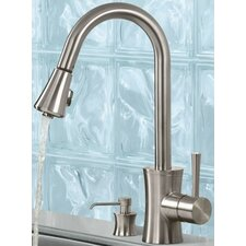 Luca One Handle Single Hole Kitchen Faucet with Soap Dispenser
